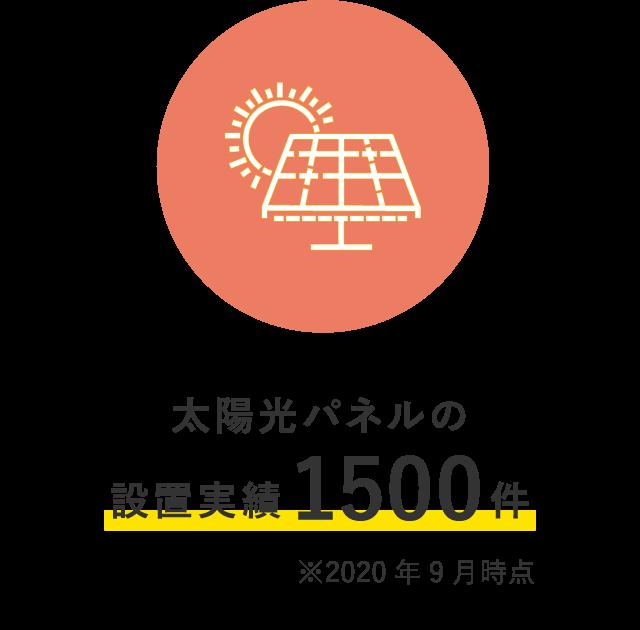 太陽光パネルの設置実績1500件 ※2020年9月時点